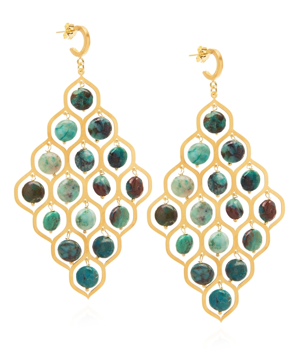 Chryssocolla Potnia Gold-plated Silver Earrings