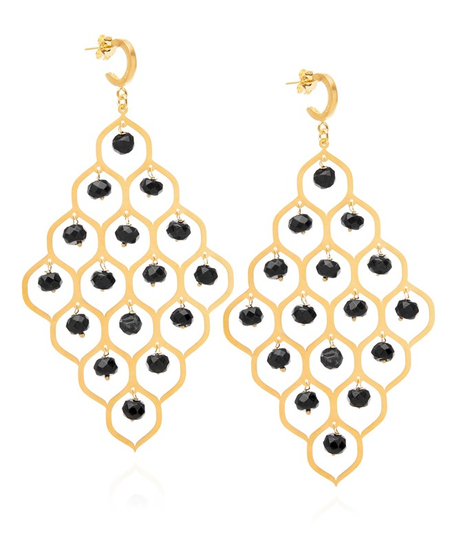 Black Onyx Potnia Gold-plated Silver Earrings Antonia Karra EARRINGS