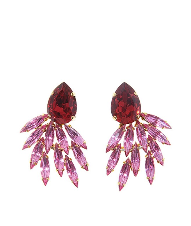 Rose Crystals and Red Life is Cabaret Earrings Ella Bartlow EARRINGS