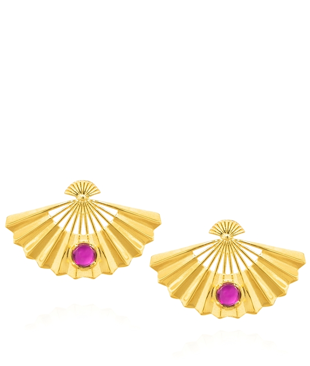 Fan Ruby Gold-Plated Earrings