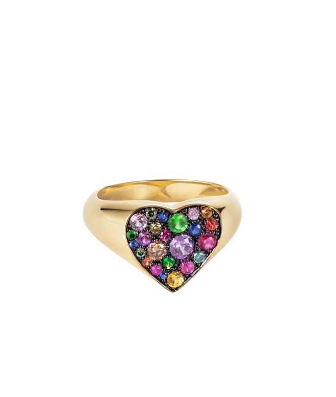 Heart Pinky Gold Diamond Sapphires Ruby Ring  Marianna Lemos RINGS