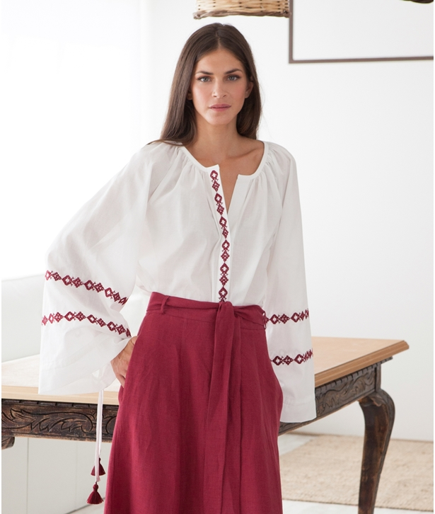 White Burgundy Ianthi Embroidered Blouse