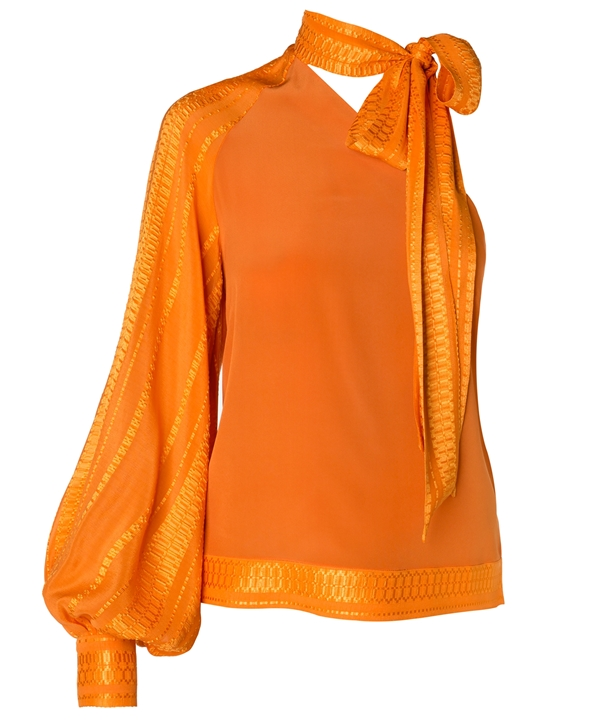 Orange Silk Arete Blouse