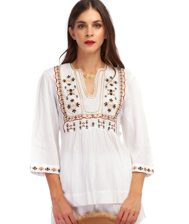 White Cotton Electra Embroidered Top Etoile Coral TOPS