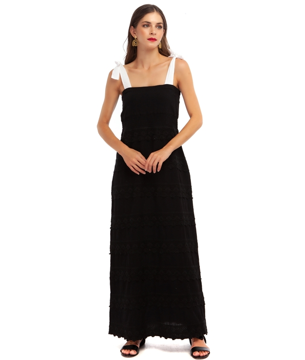 Black Sophia Cotton Maxi Dress