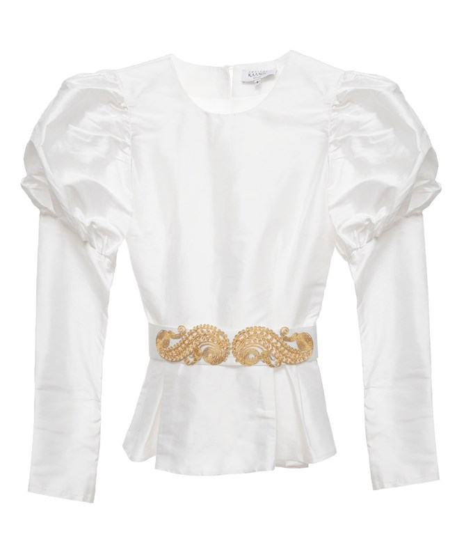White Lefkas Baloon Sleeve Silk Top Ancient Kallos TOPS