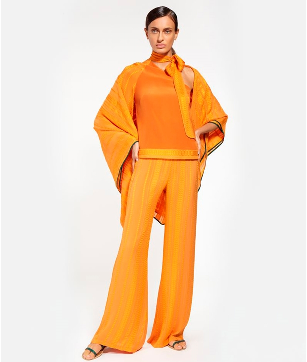 Orange Silk Alcestes Trousers