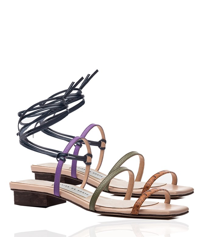 Multi Leather Lea Heeled Strappy Sandals Iride De Portu SANDALS