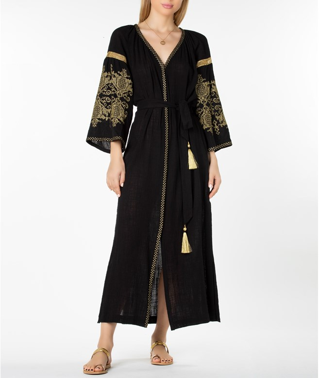 Black Gold Penelope Embroidered Long Kaftan Ancient Kallos ΚΑΦΤΑΝΙΑ-COVERUPS
