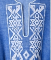 Blue White Linen Iro Embroidered Kaftan