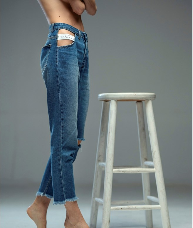 Blue Burst Cut Out Elastic Band Jeans The KNL's PANTS/SHORTS