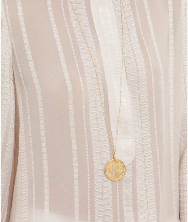 White Nebra Disc Gold-pated Silver Necklace