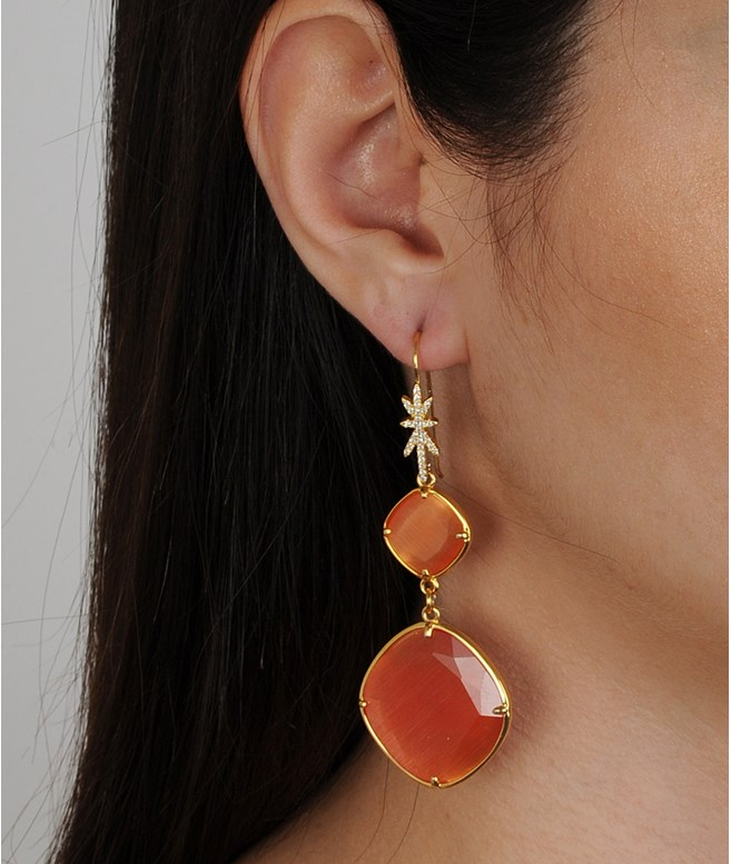 Eleanor Dusky Orange Cat's Eye Dangle Earrings Katerina Psoma EARRINGS