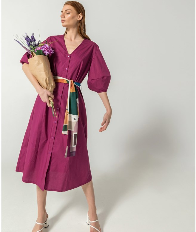 Magenta Cotton Heritage Maxi Belted Dress The KNL's DRESSES