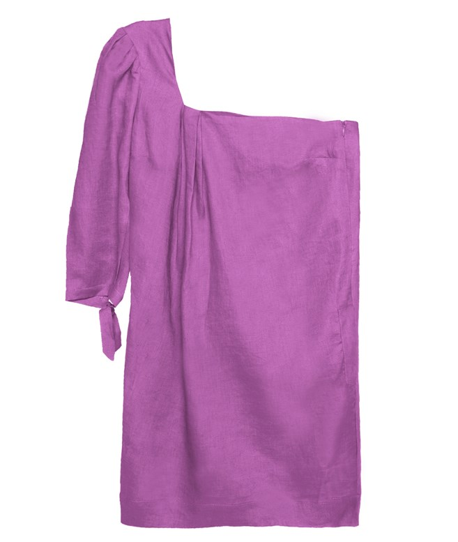 Magenta Linen Facade Mini Dress The KNL's DRESSES