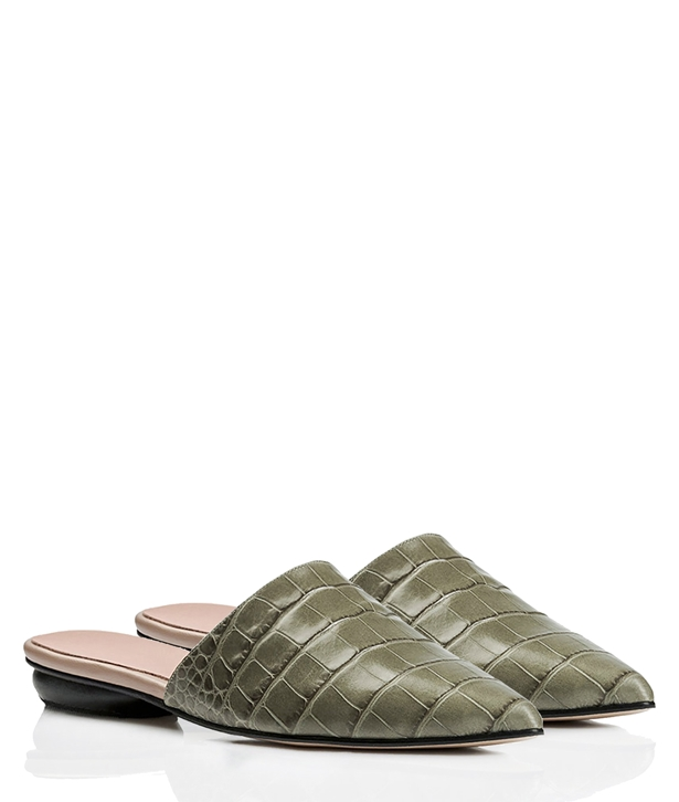Green Leather Becky Heeled Mules