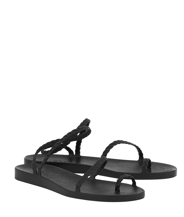 Black Eleftheria Braided Rubber Sandals