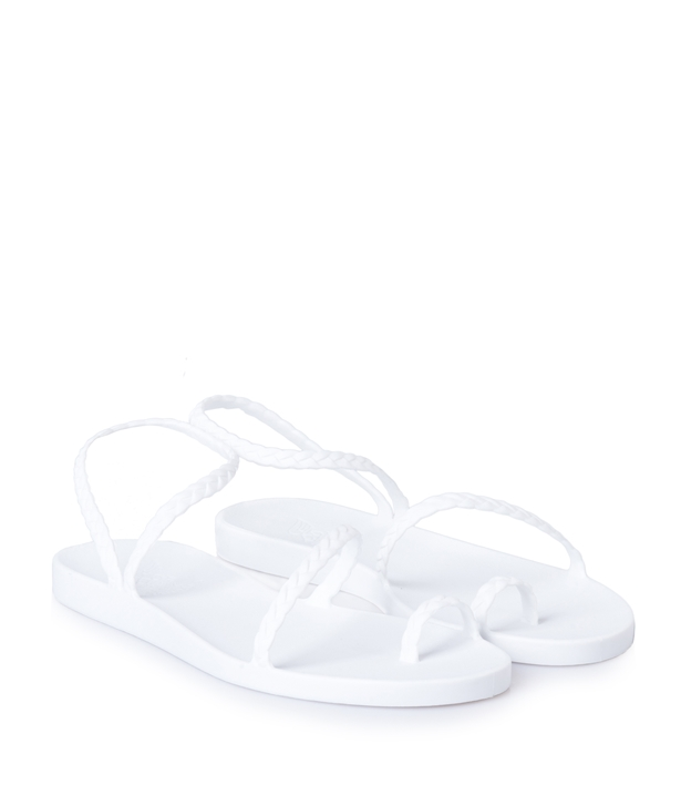 White Eleftheria Braided Rubber Sandals