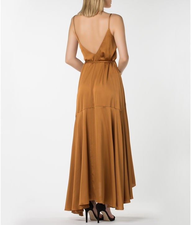 Gold Satin Long Wrap Dress