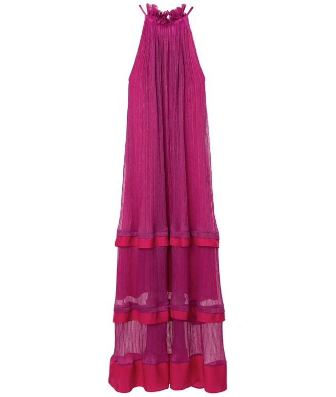 Fuchsia Lurex Halterneck Ruffled Dress Yiorgos Eleftheriades DRESSES
