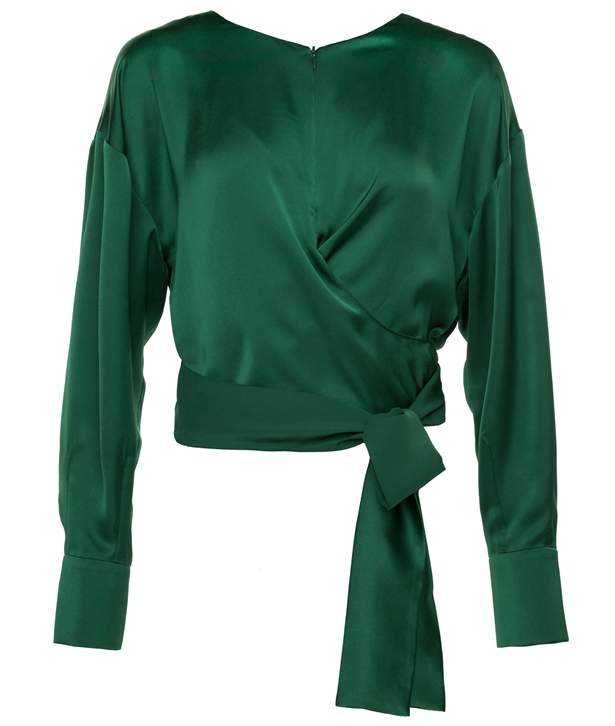 Green Silk Blend Wrap Blouse