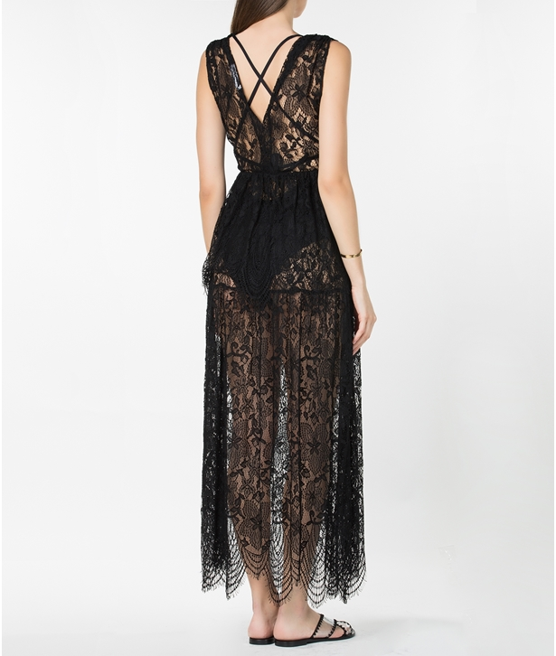 Black Ella Lace Maxi Dress