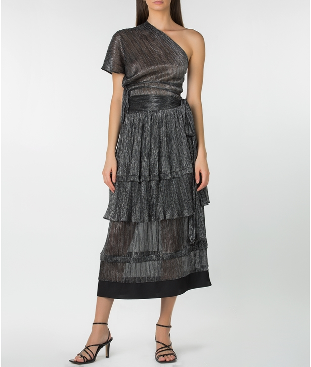Black Lurex Midi Ruffled Skirt