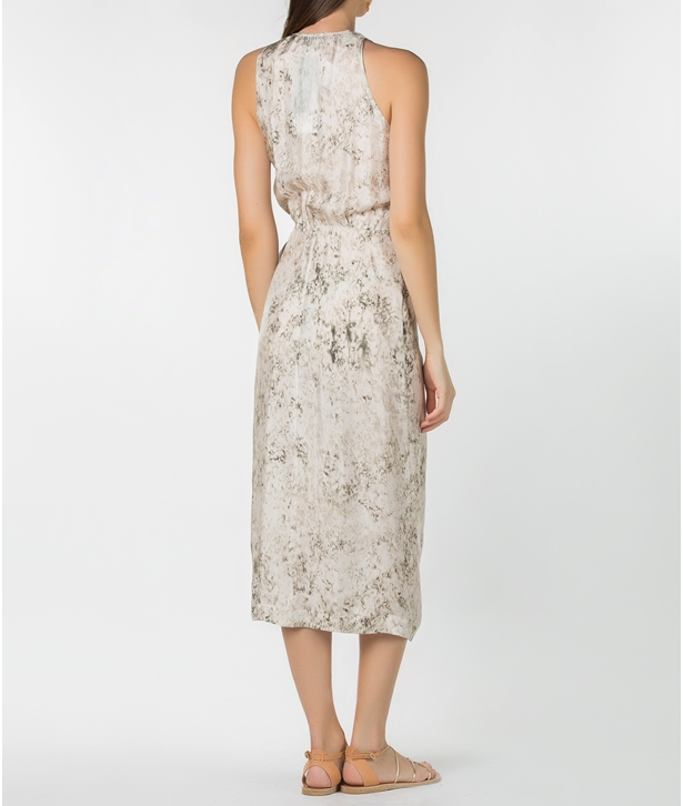 Ivory Printed Sleeveless Midi Dress