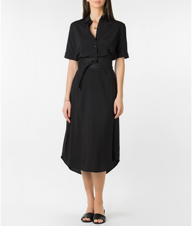 Black Short Sleeve Shirt Dress