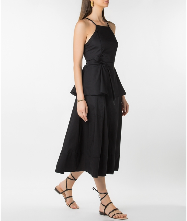 Black Cotton Sleeveless Belted Dress