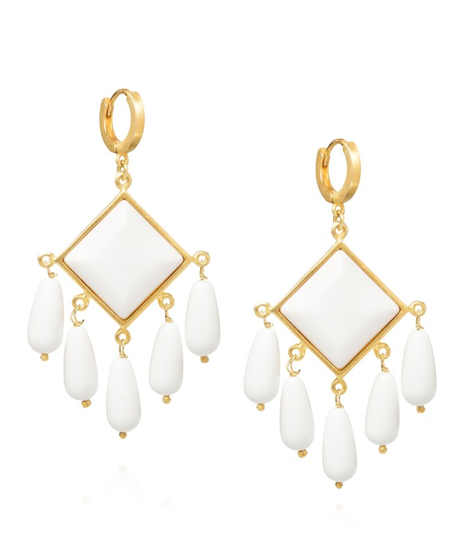 White Coral Thetis Gold-plated Silver Earrings Antonia Karra EARRINGS