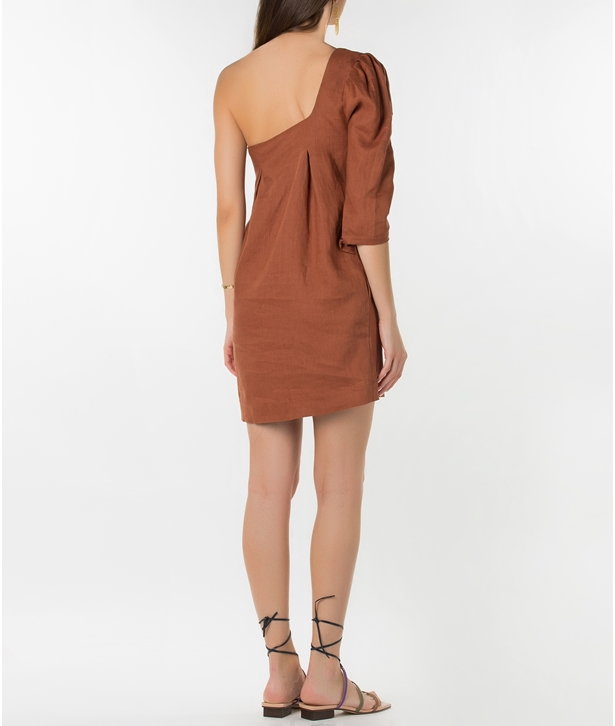 Toffee Linen Facade Mini Dress