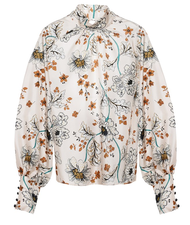 Beige Silk Floral Blouse Liana Camba ΤΟΠ