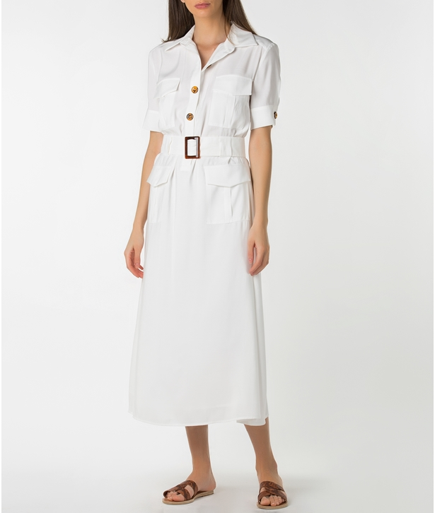 Ivory Belted Buttoned Dress