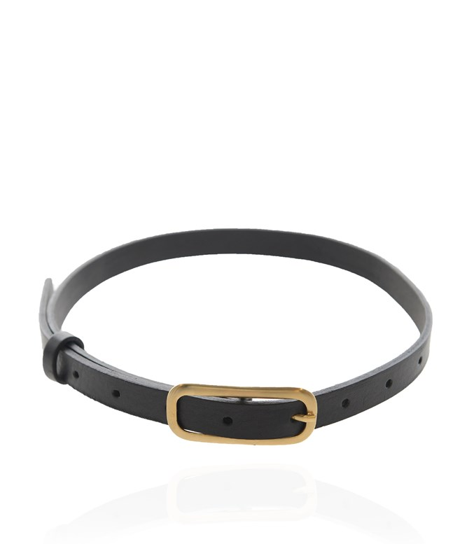 Black Gold Leather Penelope Belt Stripes Of Luxury BELTS