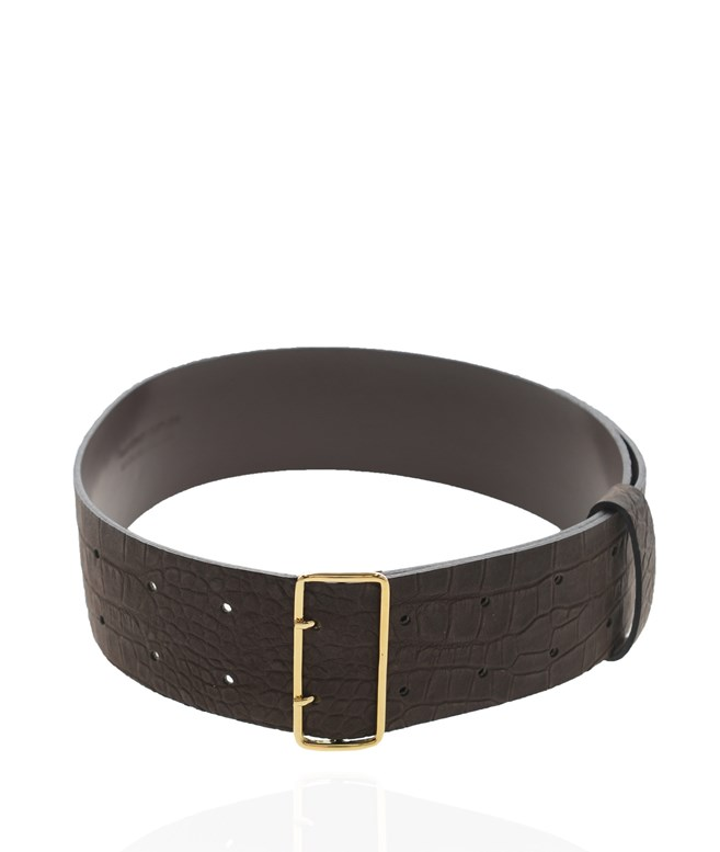 Brown Gold Leather Erin Belt Stripes Of Luxury BELTS