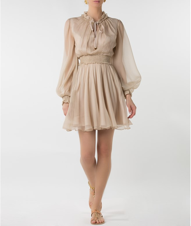 Beige Silk Long Sleeved Mini Dress Tunica Stola DRESSES
