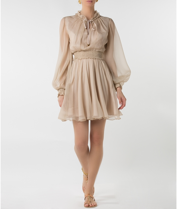Beige Silk Long Sleeved Mini Dress