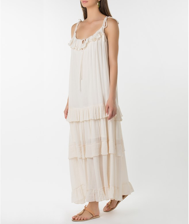 Ivory Sleeveless Ruffled Dress Tunica Stola DRESSES