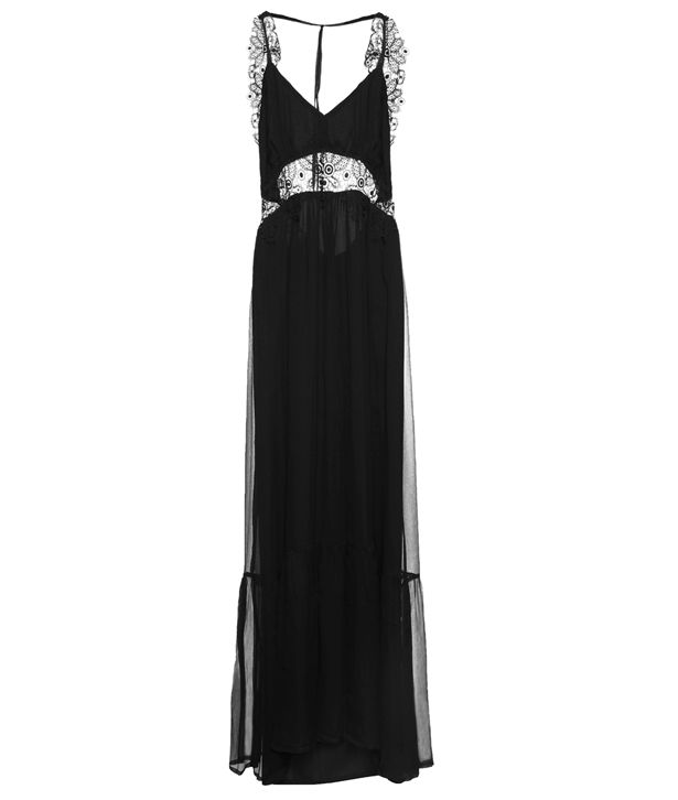 Black Silk Lace Long Sleeveless Dress