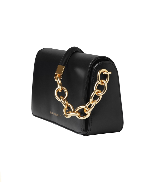 Black Leather Mary Baguette Bag