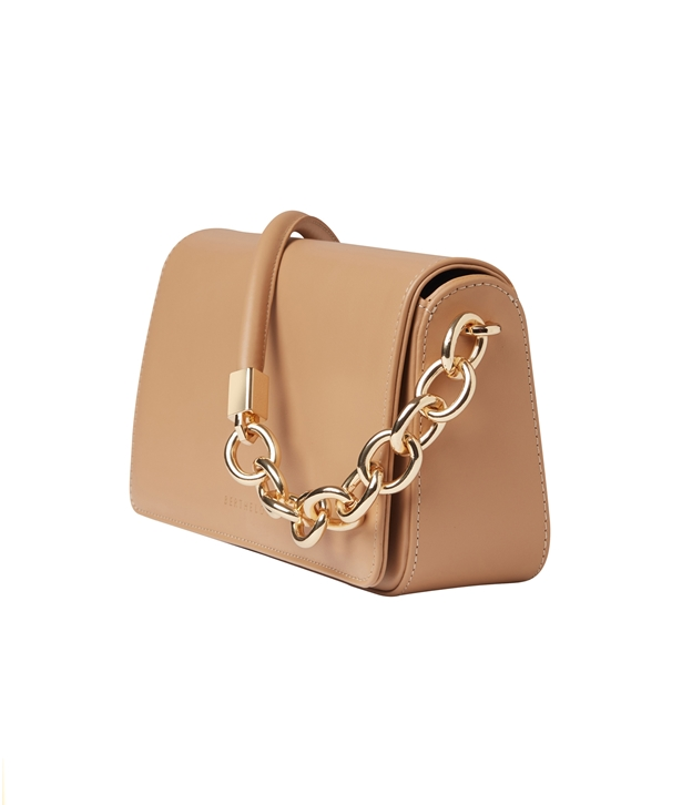 Beige Leather Mary Baguette Bag