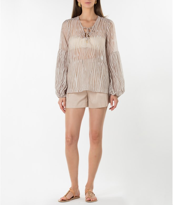 Sand Sheer Blouse Tunica Stola TOPS