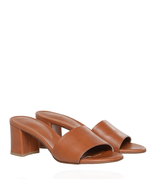 Brown Leather Mules