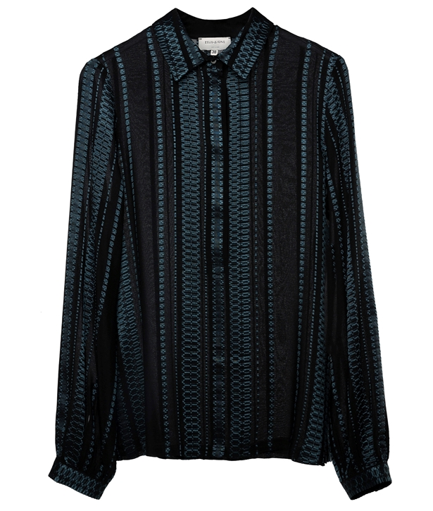 Blue Black Silk Hera Blouse