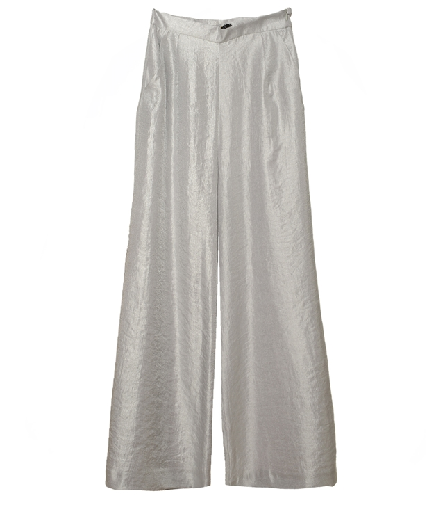 Silver Crop Flared Pants