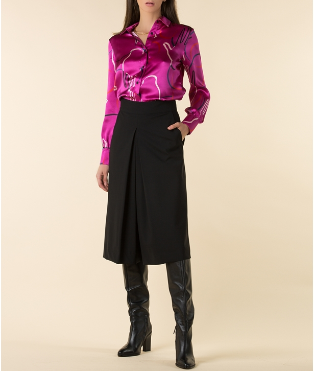 Fuchsia Playing Hoops Silk Shirt