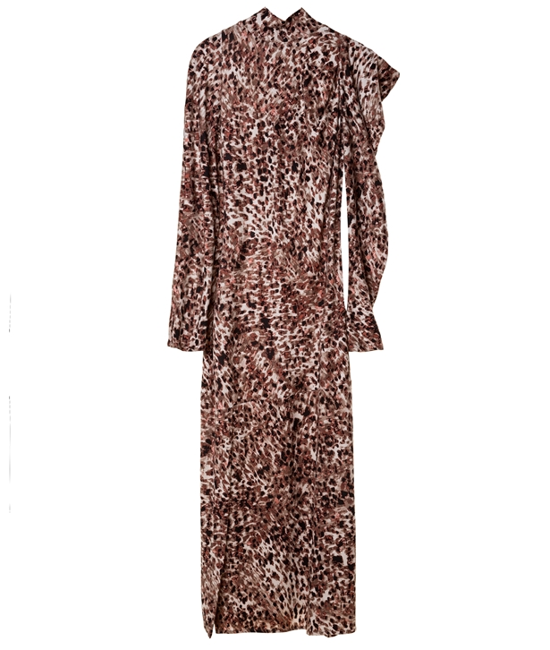 Brown Printed Silk Blend Midi Dress
