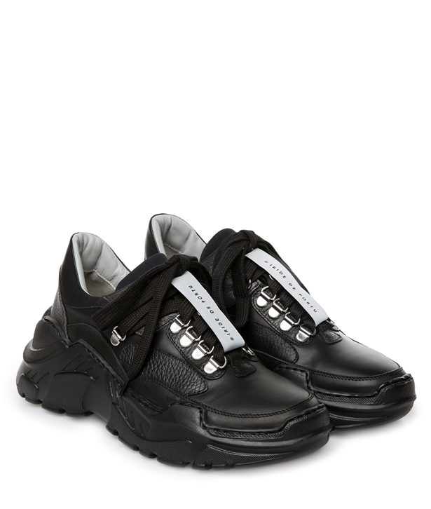 Black Leather Bonnie Sneakers