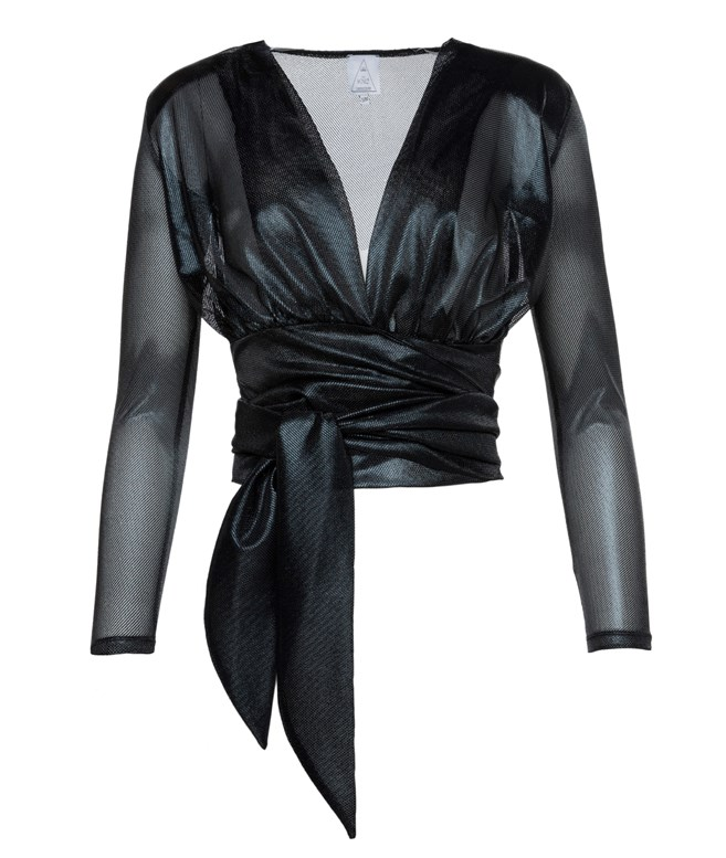 Black Edgy Lurex Wrap Top The KNL's TOPS